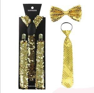 Moda pequeño lentejuelas oro plata tirantes Clip-on elástico Y-forma espalda tirantes Bowtie y corbata tirantes para las mujeres hombres