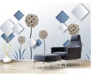 WDBH photo personnalisée 3d papier peint décor simple et boîte de pissenlit bleu clair moderne salon peintures murales 3d papier peint pour les murs 3 d