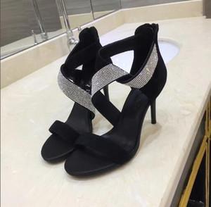 Défilé sexy sandales strass en cuir noir dentelle crossover hauts talons dîner femmes talon haut sandales femmes