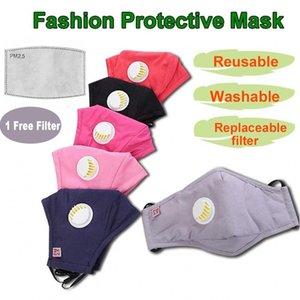 Vente chaude réutilisable unisexe coton visage Masques avec le souffle PM2,5 Valve bouche Masque anti-poussière Coton Tissu Masque Masque avec filtre lavable