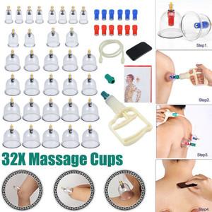 32 PC / sistema cuerpo de la aspiradora Massager ventosa Ventosas latas SET SET terapia de succión de vacío frasco de vidrio para el masaje
