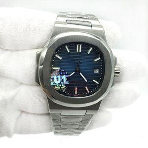 U1 Movimento fábrica gravado Mens Watch PP mecânico automático em aço inoxidável Transparente Voltar Azul Dial Men Relógios de Desporto Relógios de pulso