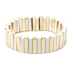 KELITCH Gold Metal Emaille-Korn-Ausdehnungs-Armbänder Stulpe-Armband-Mode-Legierung Fliesen beiläufige Armbänder Weiblicher Schmuck