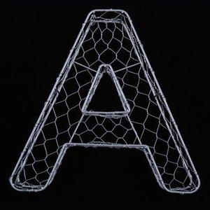 Романтические Железный алфавит от А до Z кадров Wire Венок Succulent Пот Декор Свадебной