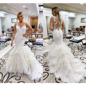 Gorgeous Lace Mermaid Wedding Dresses V Neck Cascading Ruffles Appliques Illusion Garden Bridal Gowns Designer Plus Size vestidos de novia