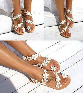 Les femmes pantoufles été sandales taille plus des fleurs de style bohème ouvert Toes Club sexy Slip-On Chaussures plates Sandales plates en caoutchouc Gladiator PU 0061