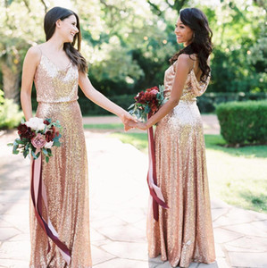 2019 Bling longos vestidos da dama Rose Gold Sequins barato Spaghetti Ruched até o chão do convidado do casamento da madrinha de casamento Vestidos BM0381