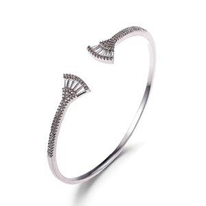 alta calidad nuevo estilo de joyería de moda europea y americana de oro y plata populares del diamante del color al po fábrica de apertura fila brazalete de joyería