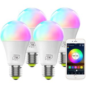 Smart WiFi ampoule Non Hub requis, peut être obscurci Multicolor E27 A19 7W (équivalent 60W) RGBCW LED Smart Lumière, Compatible avec Alexa Accueil Google