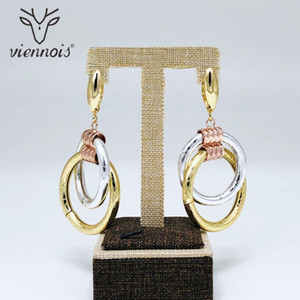 Viennois New Dangle Brincos Para Mix Mulheres Cor projeto redondo Design Festa Metallic Feminino Geometria Jóias