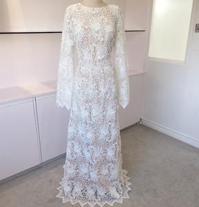 3D Floral Design Boho Bridal Wedding Dress 2020 Sheath Long-Sleeved Floor Length Lace robe de mariage Scalloped Trim Deep V-Back