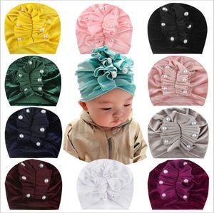 Baby Indien Hats Velvet Perlen Caps Schädel Newborn Weiche Mütze Toddle Vintage Mode-Stirnband Kopfbedeckung Baby Winter-Caps Accessoires C6643