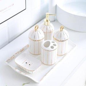 Творческий Простой Европейский Стиль Золотой Обод Комплект Для Ванной Комнаты Туалетные Принадлежности Керамика Лоток Комбинированный Набор Аксессуаров Для Ванной Комнаты