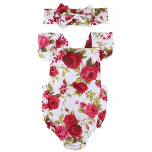 2017 new arrival Summer Baby Girls Clothes Flower Jumpsuit baby Bodysuit + floral Headband Outfits 0-18M Newborn baby clothing