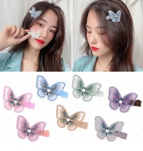 Bordado de malla de mariposa horquilla tridimensional mariposa del pelo de las horquillas de clip para las muchachas Headwear Gradiente de pelo Accesorios pernos D62803