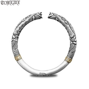 Artesanal 100% 999 Siver Dragão Bangle real Pure Silver Dragon Bangle Vintage Pulseira de Prata Cuff Jóias presente