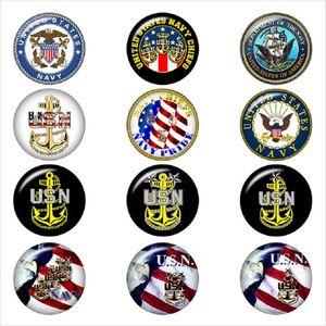 Mode 18MM Glas USA ARMY MARINE Cheif Polizei-Verschluss-Knopf-Charme-Qualitäts-Verschluss Schmuck Accessoires für Halsketten-Armband-Ohrring