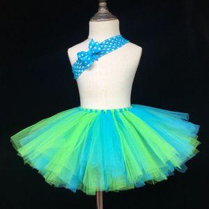 Girls Tutu Skirts Fluffy Rainbow Tutu Baby Birthday Party Skirt Ballet Dance Tutu with Bow Headband Children Costume Tulle Skirt