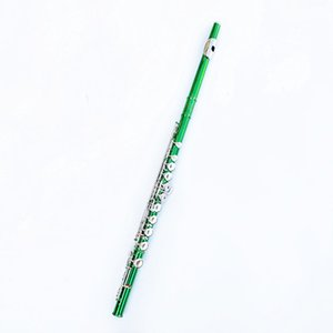 Beautiful Green Flute 16 Hole Closed Nickel Silver Keys Plus The E Key Obturator Flute Instrument For students With Box Free Shipping