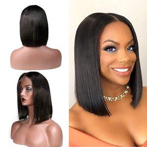 Brésilienne Vierge Cheveux Courts Bob Droite Dentelle Avant Perruques avec Des Cheveux De Bébé Pré Cueillie Pleine Dentelle Perruques Cheveux Humains Couleur Naturelle