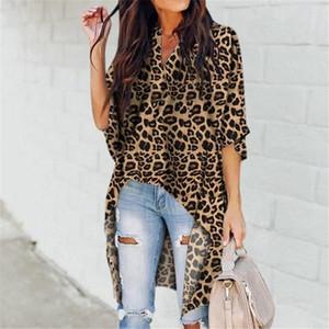 Mulheres senhoras verão leopardo impressão chiffon meia manga camisa casual tops blusa mulheres blusa top femme camisas mujer