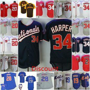Homens # 20 Daniel Murphy # 34 Bryce Harper Washington Jersey 19 Jay Bruce 28 Daniel Murphy NYMET Jersey # 2 Brian Dozier Minnesota Jersey
