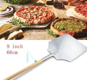66см 9-дюймовый пиццы Лопатка печь хлеб Peel Lifter Алюминий Кухня Готовим держатель шпателя выпечки кондитерских изделий Инструменты KKA7801