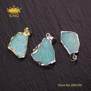 10pcs Freeform Slice Amazonite colgantes de joyería de moda, pequeño Amazonite Slice Charm chapado en oro / plata fianzas DIY collar DSS124