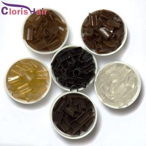 1000шт сильная фиксация итальянского кератина Fusion Nail / U наконечник склеивание клея гранулы бусины зерна для предварительно склеенных волос, 6 доступных цветов