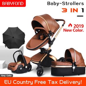 2020 new set PU Leather gold frame white baby stroller 360 degree rotation high landscape 3in1 stroller SUV suspension 4 gifts