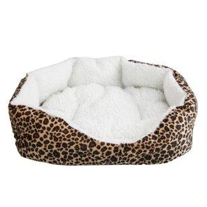 패드 크기 S 레오파드 소프트 코튼 애완 동물 개 강아지 따뜻한 워털루 침대 둥지 브라운 인쇄하기