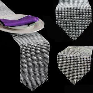 """Neue 12 * 275 CM (4,6 """"X 108"""") Diamant Tischläufer Mesh Strass Tischläufer Hochzeit Dekorationen Wohnaccessoires"""