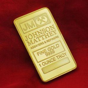 10 piezas de la moneda no magnética Amerian JM Johnson Matthey 1 Oz puro 24K oro verdadero plateado plata lingote con número de serie diferente
