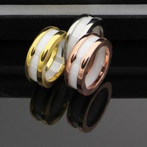 Luxe marque de mode 2019 nouvelle haute qualité anneau en céramique de titane acier noir blanc gros bijoux bague amour charme des femmes en céramique