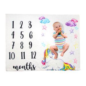 Bebê Milestone cobertores recém-nascido Fotografia de fundo de flanela infantil Blanket Flor número de gavetas Carta Swaddling Enrole LJJA3530-13