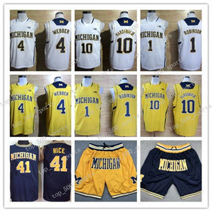 College Michigan Wolverines Basketball Jerseys Tim Hardaway Jr 1 Glenn Robinson III 3 Trey Burke Chirs Webber 41 Glen Rice HERREN SHORTS