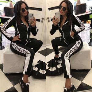 bens Terno de luxo mulheres de outono Marca Fatos Duas peças Zipper Hoodies + calças Fashion Designer Jogging sporter Feminino Clothe UE S-XL
