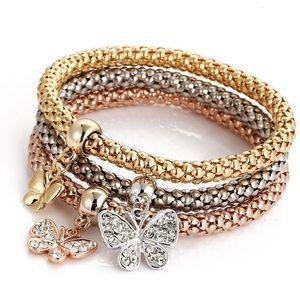 Fashion Corn Chain Bangle Set Women Accessories Cuff Jewelry Retro Rhinestone Love Heart Charm Bracelets & Bangles Bijoux Femme