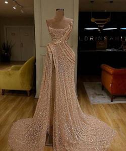 Стильные золотые платья выпускного вечера 2019 года Милая блестками Вечерние платья с высоким разрезом Вечернее платье