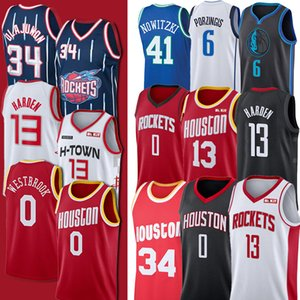 Men Russell 2020 NCAA 0 13 Westbrook Harden Kinder Rocket-James 34 Olajuwon Kristaps Dirk Nowitzki Porzingis College Basketball Jersey