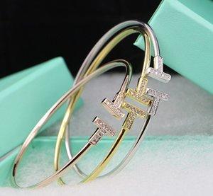 Populaire marque de mode T Designer Bangle Bracelets pour femmes Lady Party Cuivre Lovers mariage Bangle cadeau de luxe Bijoux Bijoux pour la mariée