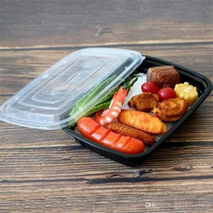 Новый Fast Food Take Out Пищевые контейнеры Упаковка Коробки черный прямоугольник Одноразовые обед ужин Box Кухонные принадлежности 85hy высокого качества