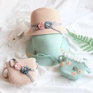 Baby menina chapéu de palha verão praia respirável borda larga chapéus arco protetor solar flor palha boné e saco set ljja-2487