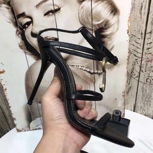 Женщины кожа высокие каблуки Женская обувь Сексуальная лодыжки лето заклепки сандалии обувь Peep Toe Гладиатор сандалии feminina
