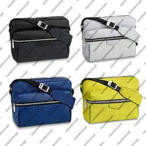 M30233 M30239 Homens Ao Ar Livre Messenger Genuine Cowhide-Leather Eclipse Trim Ajustável Masculino Bag Masculino Bolsa Embreagem Messenger Messenger Pack