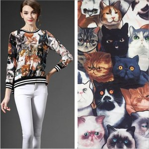The New Summer Dress Satin printed fabric simulation cute cat animal pattern free shipping