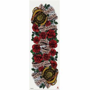 1 Unidades Rose Scroll Patrón Vintage Etiqueta Engomada Del Tatuaje Temporal Con el Brazo Arte Corporal Manga Grande Etiqueta Engomada Del Tatuaje Falso