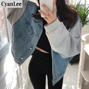 Cyanlee Yeni 2020 Sonbahar Kış Kadın Denim Ceket Patchwork Yaka Dış Giyim High Street Moda Jeans Turn-down