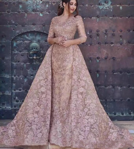 2020 Dubai Arabic Modest Mermaid Evening Dresses Wear Long Sleeves Full Lace Appliques Crystal Formal Party Gowns Prom Dress With Overskirt
