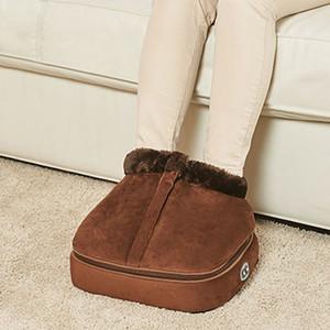 2 en 1 climatizada eléctrico calentador de pies Pies acogedoras Unisex Terciopelo climatizada Calientapiés masajeador de Big Foot Zapatilla de calor con agua tibia Masaje Zapatos T200309
